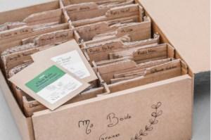 diy fabrication d'une boite de rangement à sachet de graines avec une boite en carton