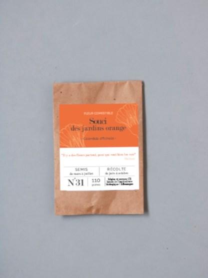 souci calendula orange des jardins, sachet de graines bios et reproductibles emballées dans un sachet de graines kraft personnalisé