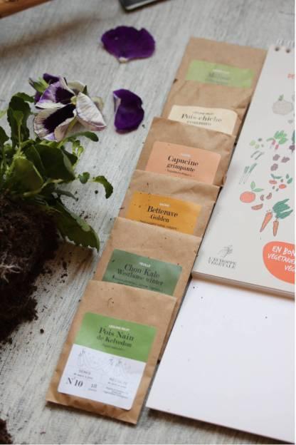kit cadeau pour amoureux des plantes : calendrier du jardinier 2019, 12 sachets de graines bios en papier kraft, 1 pochette en coton bio MADE IN FRANCE, graines pour commencer un potager sur balcon en appartement