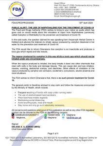 FDA release 212x300 - FDA warns against use of camphor as Coronavirus treatment