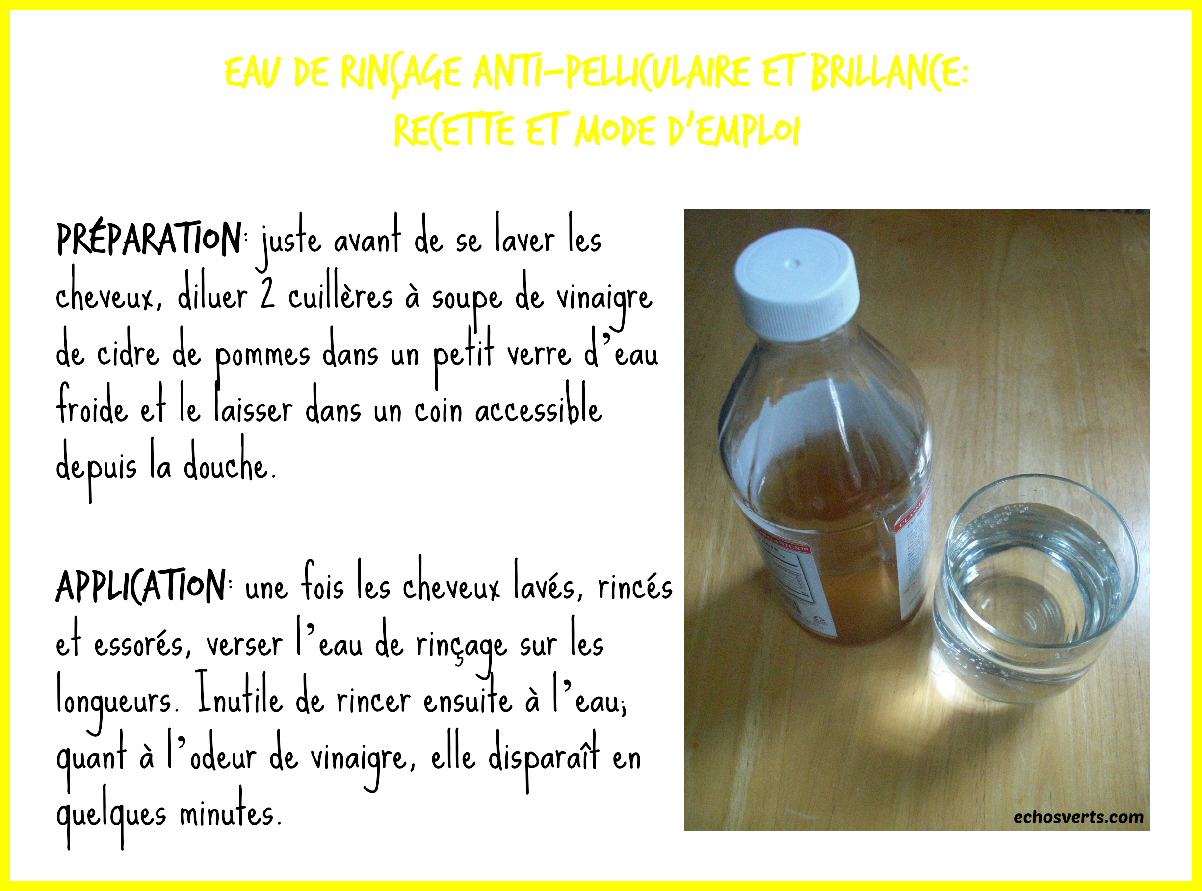 No-poo- rinçage vinaigre de cidre- recette- copyright- échos verts