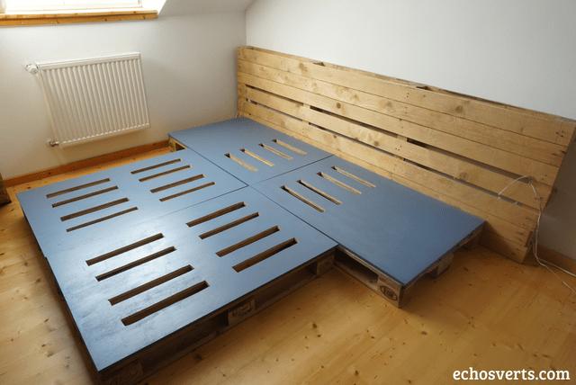 Diy} lit double et tables de chevet intégrées en palettes