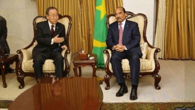 صورة بان كي مون يبحث أوضاع الساحل الإفريقي مع الرئيس محمد ولد عبد العزيز