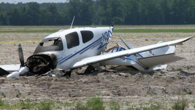 صورة تحطم طائرة صغيرة في مركز دار البركة بولاية لبراكنة
