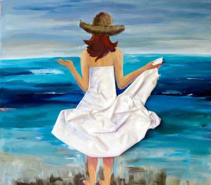 Die Frau und das Meer. Susanne Röder kombiniert in ihrer Malerei verschiedene Materialien.