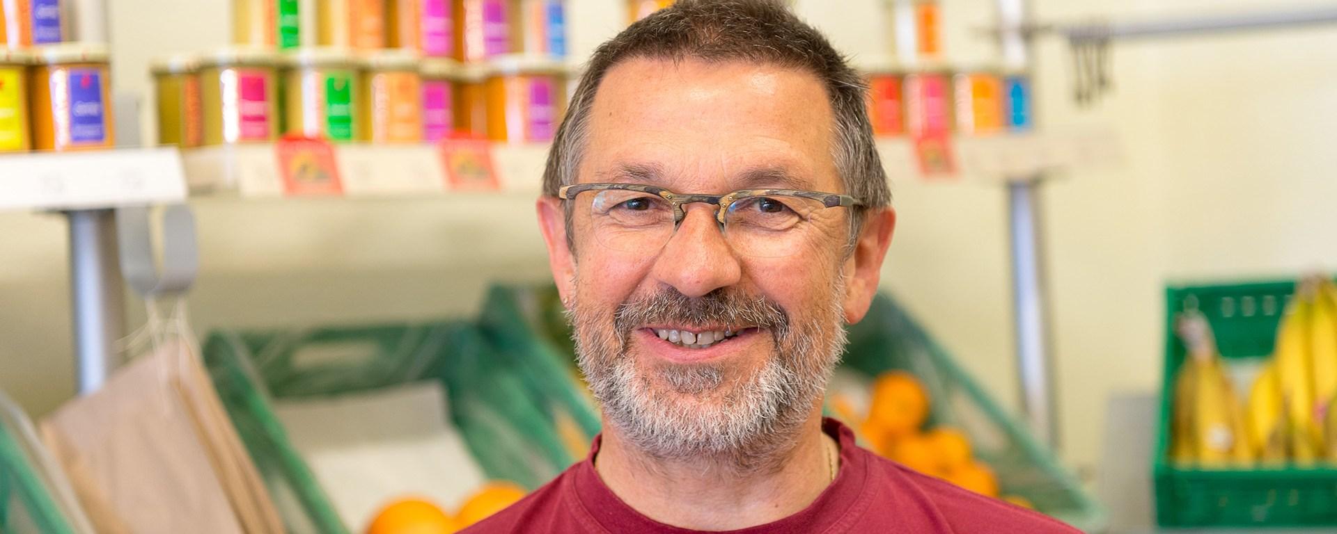 Michael Beck von dem Naturkostladen Kornblume.