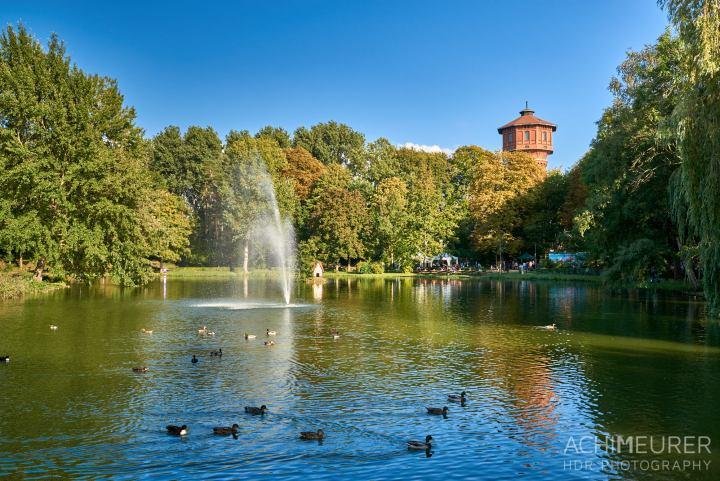 Der Stadtgraben mit Wasserturm, Fontäne und den Enten beim Schwanenhaus