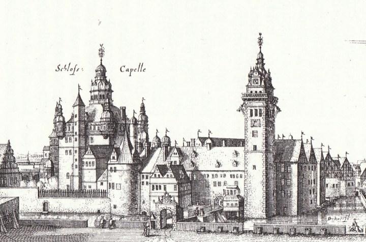 Die alte Merian-Ansicht des Schlosses. Damals noch mit der Schlosskapelle.