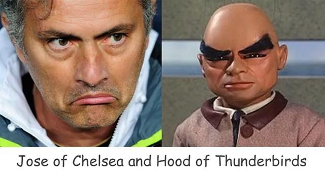 Look Alikes Chelsea Manager Jose Mourinho and Hood of Thunderbirds