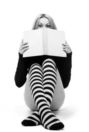 young woman hide about book