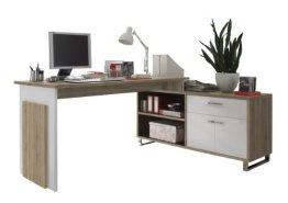 BEGA 39-730-68 Manager Eck-Schreibtisch, Eiche Sonoma Dekor, Tisch 140 x 76 x 65 cm, Sideboard 130 x 62 x 40 cm -