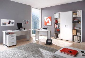 Office Line Winkelkombination Schreibtisch Ecktisch Tisch Bürotisch in weiss, weiss -