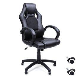 Songmics OBG56B Racing Stuhl Bürostuhl Chefsessel Drehstuhl PU schwarz, 70 x 70 x 111 - 121 cm -