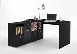 Wohnorama Winkelkombination LEX Tisch circa 136 x 75 x 68 cm, montiert Regal circa 137 x 71 x 33 cm, schwarz BLACK EDITION -