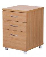 FineBuy DOCK Rollcontainer für Schreibtisch Arbeitsplatz mit Rollen mit 3 Schubladen Rollwagen Holz Buche Schubladencontainer Büro-Möbel 60cm hoch 48cm breit 40cm tief Standcontainer -