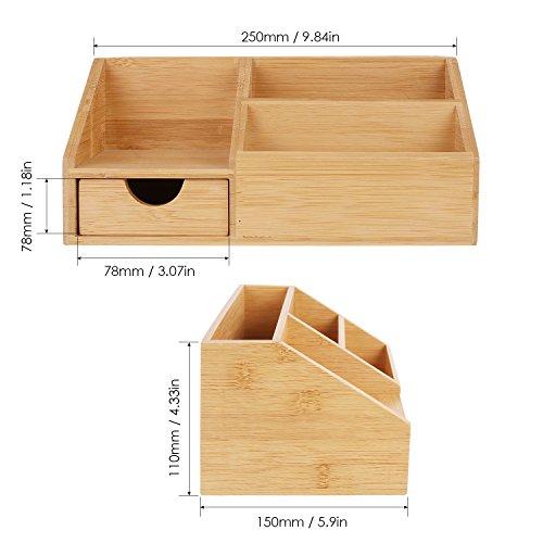 HOMFA Bambus Aufbewahrungsboxen Organisator Schreibtisch Ordnungsbox Officebox 25x15x11cm(1 Ablage) -
