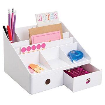 Interdesign 42011EU Linus Schreibtisch Organizer mit Schubladen, weiß -