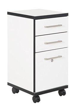 """Phönix 806234WES Rollcontainer Chicago, passend zur gesamten Chicago """"Ihr individuelles Büro Serie"""" mit 3 Schubladen, 36 x 71 x 40 cm, weiß mit schwarzen Kanten -"""