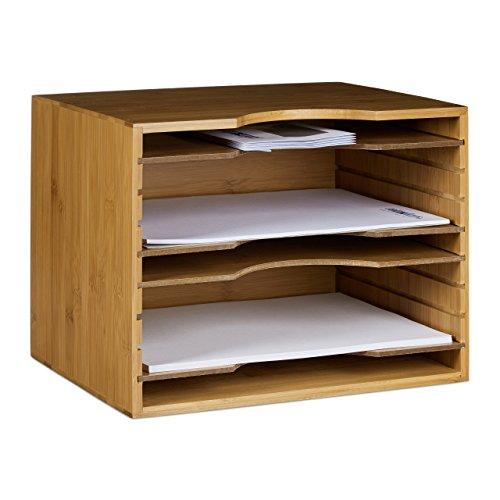 Briefablage Holz Schreibtischorganizer Dokumentenablage mit 4 Einlegeb/öden Schreibtisch Ablagesystem Aufbewahrungsbox Papierablage f/ür B/üro