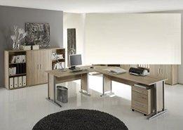 Arbeitszimmer mit Winkelschreibtisch komplett Set Office Line mit Highboard in Eiche Sonoma -