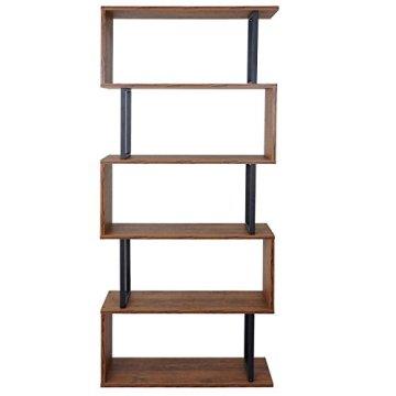 Bücherregal Dohna, Standregal Wohnregal, 183x80cm 3D-Struktur 5 Ebenen ~ Wildeiche -