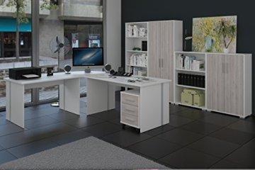 Büromöbel, Arbeitszimmer 8-teilig in Weiss mit Fronten in Sonoma-Sorrento -