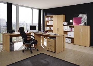 Büromöbel Set, Arbeitszimmer, 6-teiliges Set, praktischer Winkelschreibtisch, hoher und niedriger Aktenschrank, Rollcontainer mit drei Schubladen, hohe und niedrige Regalwand, ergonomischer Computerarbeitsplatz