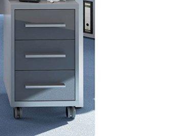 Rollcontainer Maja Set 2017, kleiner Aktenschrank mit Rollen, beweglicher kleiner Büroschrank in Platingrau / Grauglas, Rollcontainer für das Büro günstig kaufen, Rollcontainer mit ergonomischen ABS-Kanten-Griffe
