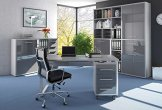 Büromöbel Komplett Set Modell Maja 2018, Arbeitszimmer komplett einrichten , moderne Möbel in Platingrau, Schreibtisch mit Rollcontainer, Regalwand mit viel Stauraum, Büroschrank online kaufen