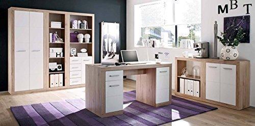 Komplette Büroeinrichtung in San Remo Eiche Design mit Weißer Front @eck