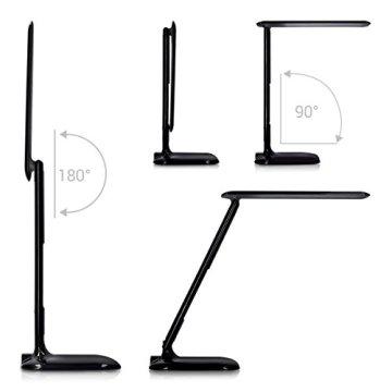 kwmobile LED Schreibtischlampe dimmbare Lampe - Tischlampe mit USB Ladefunktion - Schreibtisch Licht Tischleuchte Büro - Schwarz mit LCD Display -