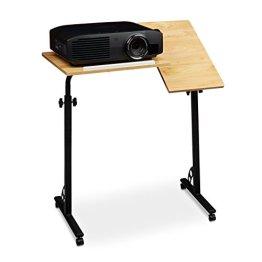 Relaxdays Laptoptisch groß höhenverstellbar H x B x T: 110 x 80 x 50 cm Mobiles Rednerpult mit Rollen zum Bremsen für Notebook mit Ablage für Beamer, große Laptops, Mäuse etc. Eiche (natur) -