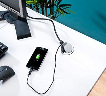 revolt Steckdose: Tisch-Einbausteckdose mit USB & Standard-Kabeldurchführungen, Ø 60 mm (Tisch-Steckdose) -