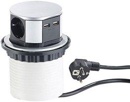 revolt Tischsteckdose: Versenkbare Einbau-Tisch-Steckdose, 3-fach mit 2x USB, rund, Ø 100 mm (Versenkbare Steckdosenleisten) -