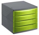 rotho 1108005519 Schubladenbox Bürobox Quadra aus Kunststoff (PS), 4 geschlossene Schübe, A4-Format, hochwertige Qualität, circa 37 x 28 x 25 cm, Anthrazit/Grün Bürobox, Plastik -