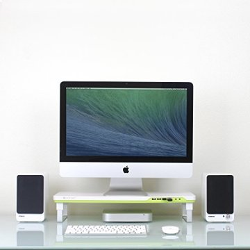 Satechi F1 Smart Monitorständer mit vier USB-Anschlüssen und Kopfhörer / Mikrofon Verlängerungsanschlüssen (Weiß) -