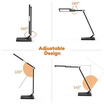 TaoTronics 100% Metall Schreibtischlampe LED Tageslichtlampe 12W Touch-Control 5 Farbetemperaturen und 6 Helligkeiten mit USB-Anschluss 5V 2A zum Aufladen von Smartphones und Tablets, Eisen-Grau -