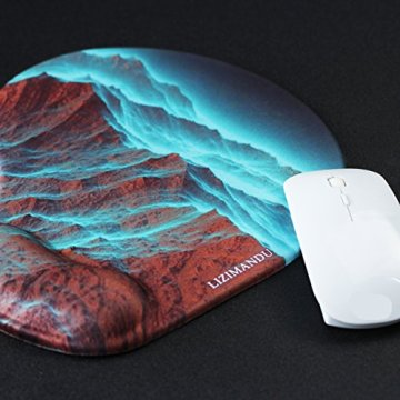 Handgelenkauflage Mouse pad ,Lizimandu rutschfeste Gummi-Unterseite gleichmäßige Maussteuerung ergonomisches Komfort Mauspad mit Handauflage(Rock Mountain/Rock Mountai) - 6