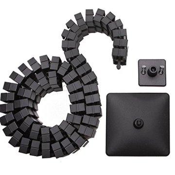 boho möbelwerkstatt Slim Line Kabelführung Kabelkanal Kabelmanagement in Schwarz Matt für höhenverstellbare Schreibtische variabel kürzbar mit 66 flexiblen Elementen - 3