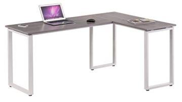hjh OFFICE 674170 Eckschreibtisch WORKSPACE Basic Grau/Weiß Schreibtisch in Holzoptik mit Stahl-Gestell 165 x 120 cm - 1