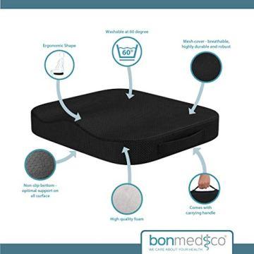 bonmedico Comfort Cushion, Ergonomisches Sitzkissen für besten Sitzkomfort, Stuhlkissen für Büro & Home Office aus innovativem Memory Foam, Sitzpolster universell einsetzbar - 5