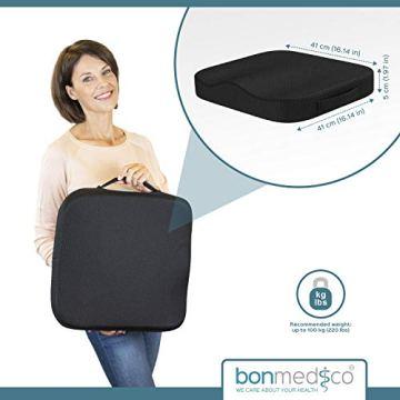 bonmedico Comfort Cushion, Ergonomisches Sitzkissen für besten Sitzkomfort, Stuhlkissen für Büro & Home Office aus innovativem Memory Foam, Sitzpolster universell einsetzbar - 7