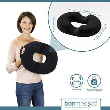 bonmedico Orthopädisches Hämorrhoiden-Sitzkissen mit innovativer Gel-Schicht, Sitzring wirkt schmerzlindernd, auch zur Steißbein-Entlastung für Auto, Sofa, Büro & Rollstuhl, Normal - 7
