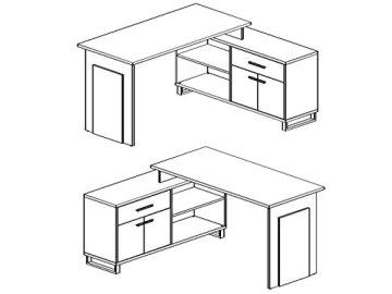 möbelando Winkelschreibtisch Schreibtisch Büroschreibtisch Eckschreibtisch Margate I Sonoma-Eiche/Weiß - 5