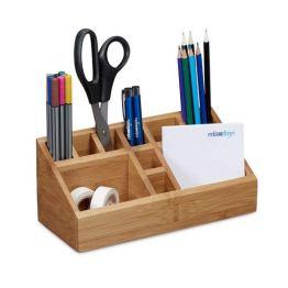 Relaxdays Schreibtischorganizer Bambus, Stifteköcher, 10 Fächer, natürliche Maserung, HxBxT: 10 x 23 x 10 cm, natur - 1