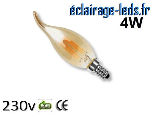 Ampoule led E14 mordoré coup de vent 4w Blanc Chaud