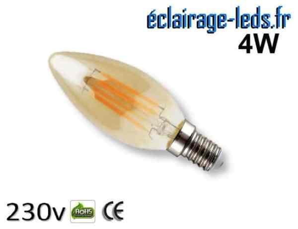 Ampoule led E14 flamme mordoré 4w Blanc Chaud 230V