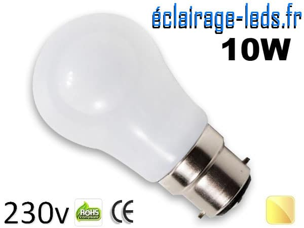 Ampoule Led B22 liquide 10w blanc chaud IP65 230v