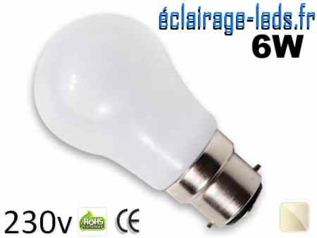 Ampoule Led B22 liquide 6w blanc Naturel IP65 230v