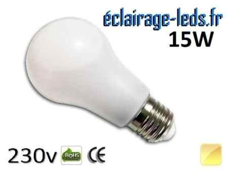 Ampoule led E27 liquide 15w SMD blanc chaud 3000K 230v AC ref f008-1